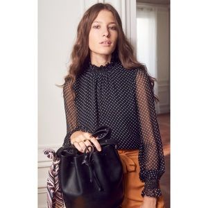 Brand New Sezane Cathy 100% silk blouse